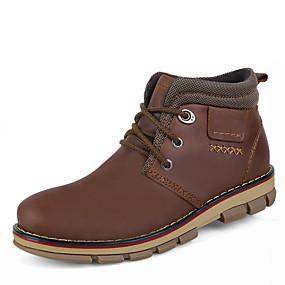 baratos Botas Masculinas-Homens Sapatos de couro Pele Napa Inverno Clássico / Casual Botas Caminhada Manter Quente Botas Curtas / Ankle Castanho Claro / Castanho Escuro