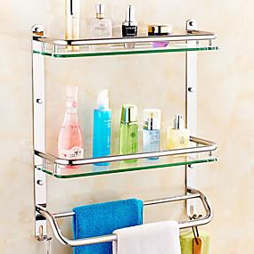 hesapli Banyo Rafları-Banyo Rafı Yaratıcı Çağdaş cam / Paslanmaz Çelik 1pc - Banyo Duvara Monte Edilmiş