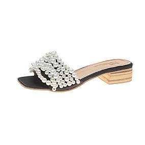 voordelige Damesschoenen met platte hak-Dames PU Zomer Platte schoenen Blok hiel Zwart / Beige / Roze