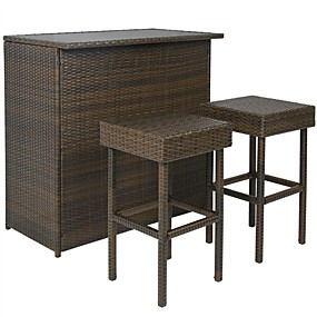 cheap Furniture-Outdoor 3-Piece PE Wicker Bar Set with Table and Stools