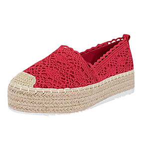 voordelige Damesschoenen met platte hak-Dames Platte schoenen Creepers Kant Zomer Blauw / Roze / Luipaard