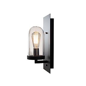 hesapli Duvar Aplikleri-Amerikan retro metal duvar işık fikstürü endüstriyel retro duvar lambası cam gölge siyah kaplama duvar aplik bar caf için koridor depo