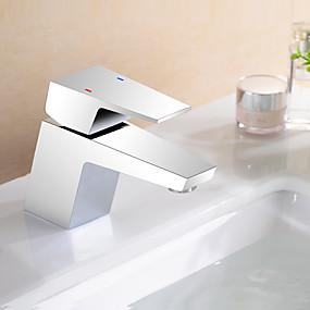 billige Vandhaner til badeværelset-Håndvasken vandhane - Udbredt Krom Centersat Enkelt håndtag Et HulBath Taps