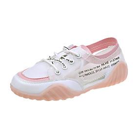 baratos Sapatos Esportivos Femininos-Mulheres Tênis Sapatos Confortáveis Sem Salto Peep Toe Com Transparência Doce / Minimalismo Verão / Primavera Verão Branco / Amarelo / Rosa Claro / Estampa Colorida