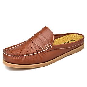 baratos Tamancos Masculinos-Homens Sapatos Confortáveis Couro Ecológico Primavera Verão Negócio / Casual Tamancos e Mules Respirável Preto / Amarelo / Vinho