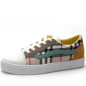 voordelige Damessneakers-Dames Sneakers Platte hak Ronde Teen Imitatieleer minimalisme Lente & Herfst Rood / Donkergroen