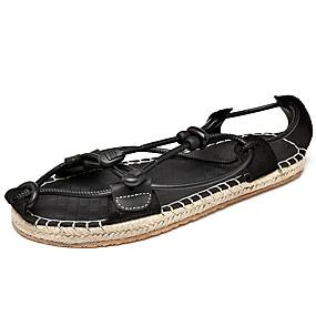 povoljno Muške sandale-Muškarci Udobne cipele Eko koža Proljeće ljeto Klasik / Ležerne prilike Sandale Prozračnost Crn / Braon