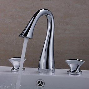 cheap New Arrivals-Bathroom Sink Faucet - Widespread Chrome Widespread Two Handles Three HolesBath Taps