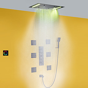 billige LED Series-bad dusj kran sett / 50x36 cm led dusjhode / hånddusj inkludert / varmt og kaldt bad mixer ventil / messing / moderne