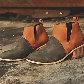 voordelige Damesschoenen met platte hak-Dames Platte schoenen Blok hiel Ronde Teen PU Zomer Zwart / Wijn / Bruin / Kleurenblok