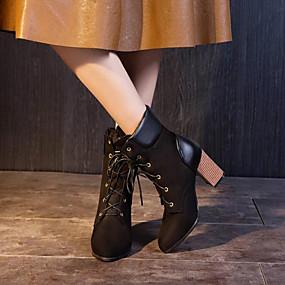 billige Mote Boots-Dame Støvler Tykk hæl Spisstå Semsket lær / PU Støvletter Høst vinter Hvit / Svart / Gul