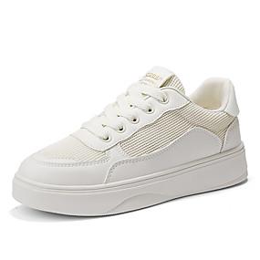 voordelige Damessneakers-Dames Sneakers Creepers Ronde Teen Elastische stof Informeel Wandelen Zomer Groen / Wit / Roze
