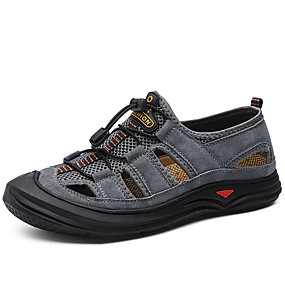 baratos Sandálias Masculinas-Homens Sapatos de couro Couro de Porco Verão Esportivo / Casual Sandálias Aventura / Água Respirável Preto / Marron / Cinzento