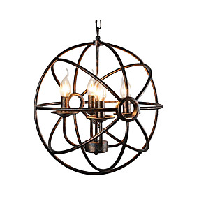 billige Hengelamper-sfærisk anheng lys antikke klokke metall lysekrone 4 lys olje gnidd bronse ball anheng lys taklampe for soveværelset gangen