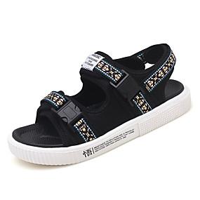 baratos Sandálias Masculinas-Homens Sapatos Confortáveis Lona Verão Casual Sandálias Respirável Preto / Azul / Marron