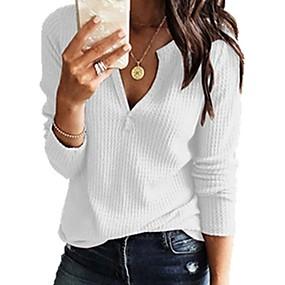 cheap US Explore Autumn Low-Key luxe-Women's Solid Colored Long Sleeve Pullover, V Neck Navy Blue / Gray / Yellow XXXL / XXXXL / XXXXXL