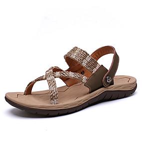 baratos Sandálias Masculinas-Homens Sapatos Confortáveis Tecido elástico Primavera Verão Casual Sandálias Respirável Preto / Bege