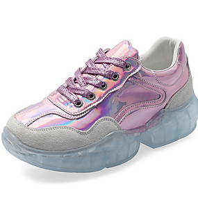 voordelige Damessneakers-Dames Sneakers Platte hak Ronde Teen Kristal PU Dad Shoes Zomer Zilver / Roze