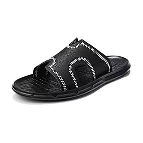 baratos Sandálias e Chinelos Masculinos-Homens Sapatos Confortáveis Couro Ecológico Verão Chinelos e flip-flops Branco / Preto / Preto / Vermelho
