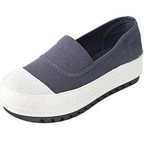 voordelige Damesinstappers & loafers-Dames Loafers & Slip-Ons Creepers Canvas Lente Zwart / Wit / Blauw