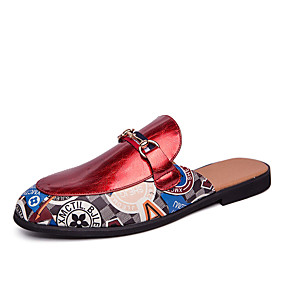 baratos Tamancos Masculinos-Homens Sapatos Confortáveis Couro Ecológico Primavera Casual Tamancos e Mules Respirável Branco / Vermelho