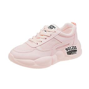baratos Sapatos Esportivos Femininos-Mulheres Tênis Salto Baixo Dedo Apontado Couro Sintético Minimalismo Caminhada Primavera & Outono Branco / Amarelo / Rosa claro