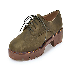 voordelige Dames Oxfords-Dames Oxfords Blokhak PU Lente / Herfst winter Zwart / Groen / Amandel