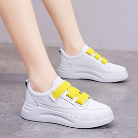 voordelige Damessneakers-Dames Sneakers Plateau PU Lente & Herfst Wit / Geel / Roze