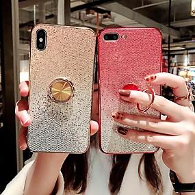 povoljno Telefoni i pribor-kutija za Apple iPhone 8 / iphone x svjetlucavo sjaj / prsten držač stražnji pokrov glitter sjajni hard tpu za iphone 6 / iphone 6 plus / iphone 6s 7 8plus xs xr xsmax