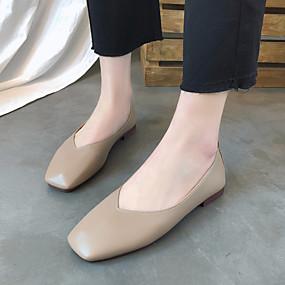 voordelige Damesschoenen met platte hak-Dames Platte schoenen Platte hak Vierkante Teen PU Informeel Lente & Herfst Zwart / Lichtbruin / Beige