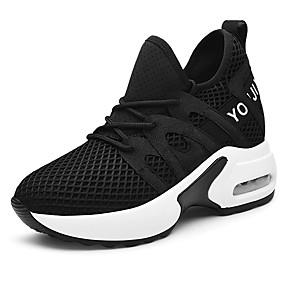 voordelige Damessneakers-Dames Sneakers Sportieve look Sleehak Netstof Zoet / minimalisme Lente & Herfst / Zomer Wit / Zwart