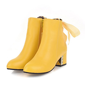 billige Mote Boots-Dame Støvler Tykk hæl Rund Tå PU Ankelstøvler Fritid / Britisk Høst vinter Svart / Hvit / Gul / Fest / aften