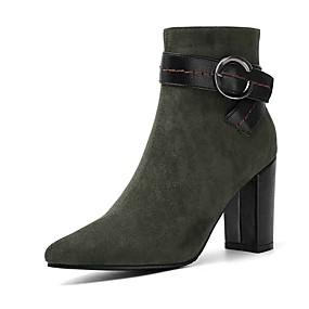 billige Mote Boots-Dame Støvler Tykk hæl PU Ankelstøvler Høst Svart / Lys Rød / Grønn
