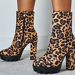 billige Mote Boots-Dame Støvler Tykk hæl Rund Tå Semsket lær Høst vinter Leopard