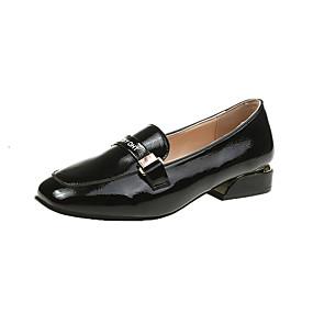 voordelige Damesinstappers & loafers-Dames Loafers & Slip-Ons Lage hak Vierkante Teen Lakleer Lente & Herfst Zwart / Amandel / Beige