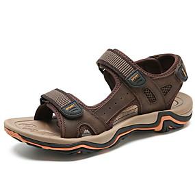 baratos Sandálias Masculinas-Homens Sapatos Confortáveis Couro Ecológico Verão Sandálias Preto / Castanho Claro / Marron