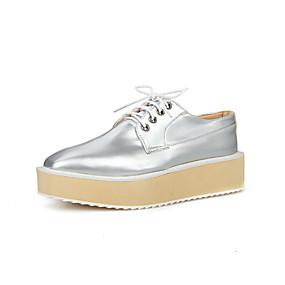 voordelige Damesinstappers & loafers-Dames Loafers & Slip-Ons Creepers Vierkante Teen Microvezel Zoet Lente zomer Zwart / Wit / Zilver