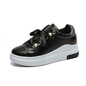 voordelige Damessneakers-Dames Sneakers Lage hak Ronde Teen Imitatieleer / PU Lente / Herfst winter Zwart / Wit / Goud