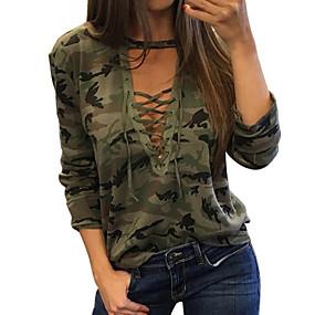 billige -0.1-T-skjorte Dame - Kamuflasje, Trykt mønster Grunnleggende Grønn