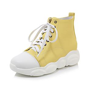 voordelige Damessneakers-Dames Sneakers Creepers Ronde Teen Imitatieleer Studentikoos / minimalisme Wandelen / Swingschoenen Lente & Herfst Zwart / Wit / Geel