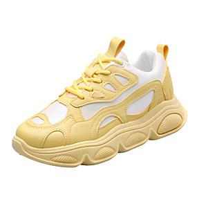 baratos Sapatos Esportivos Femininos-Mulheres Tênis Sem Salto Ponta Redonda Lona / Couro Sintético Primavera Verão / Outono & inverno Branco / Amarelo / Rosa claro