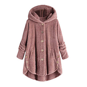cheap Clearance-Women's Daily Fall & Winter Regular Coat, Solid Colored Hooded Long Sleeve Polyester Wine / Light Brown / Light gray