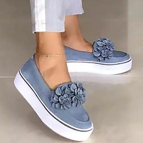 voordelige Damesschoenen met platte hak-Dames Platte schoenen Platte hak Ronde Teen PU Lente zomer Zwart / Geel / Blauw