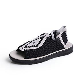 baratos Sandálias Masculinas-Homens Sapatos Confortáveis Couro de Porco / Tecido elástico Primavera Verão Casual Sandálias Respirável Preto / Marron / Bege