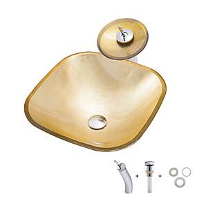 billige Frittstående vask-Baderomsvask / Baderomskran / Baderom Monteringsring Moderne - Herdet Glass Kvadrat Vessel Sink
