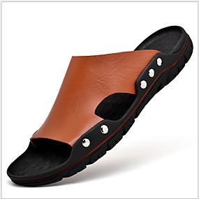 baratos Sandálias e Chinelos Masculinos-Homens Sapatos Confortáveis Couro Ecológico Verão Chinelos e flip-flops Respirável Preto / Castanho Claro / Castanho Escuro