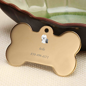 hesapli Kazınmış Evcil Hayvan Aksesuarları-Kişiselleştirilmiş Özelleştirilmiş Çoban Evcil Hayvan Etiketleri Klasik Hediye Günlük 1pcs Altın Gümüş Gül Altın