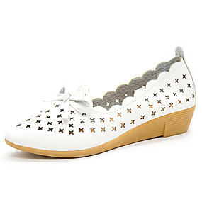 voordelige Damesinstappers & loafers-Dames Loafers & Slip-Ons Sleehak Gepuntte Teen Strik Rubber Informeel / minimalisme Zomer / Herfst Amandel / Wit