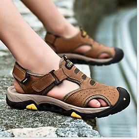 baratos Sandálias Masculinas-Homens Sapatos Confortáveis Couro Ecológico Verão Sandálias Respirável Preto / Marron / Khaki