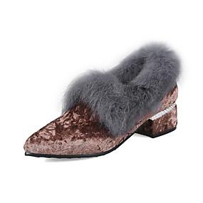 voordelige Damesinstappers & loafers-Dames Loafers & Slip-Ons Blokhak Gepuntte Teen Suède Lente & Herfst / Herfst winter Roze / Grijs / Koffie